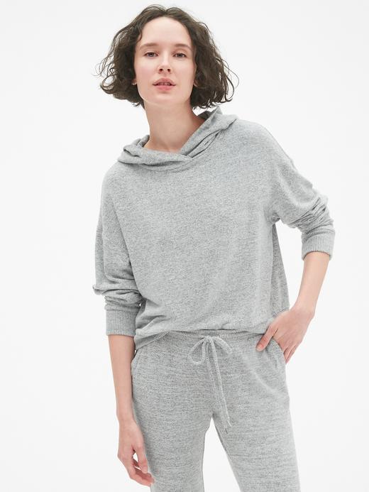 Kadın açık gri Softspun Kapüşonlu Kısa Sweatshirt