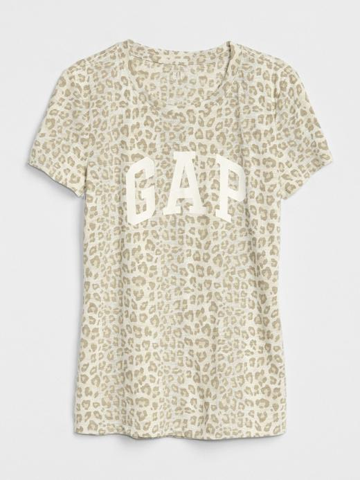 Logolu Leopar Desenli Sıfır Yaka T-Shirt