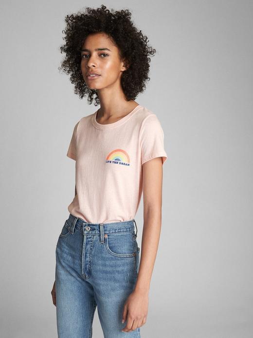 70's grafik desenli sıfır yaka t-shirt