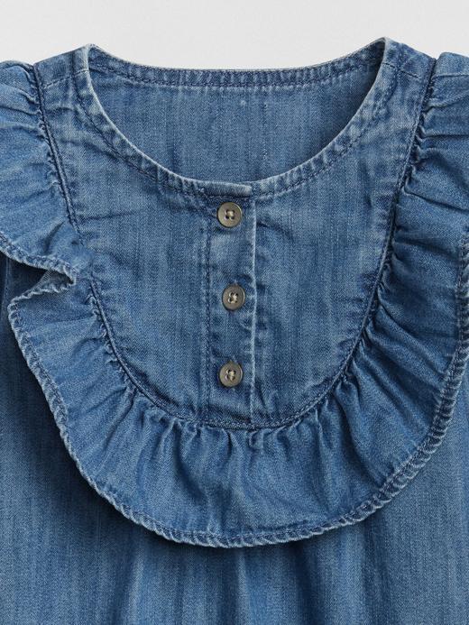 Fırfır Detaylı Denim Elbise