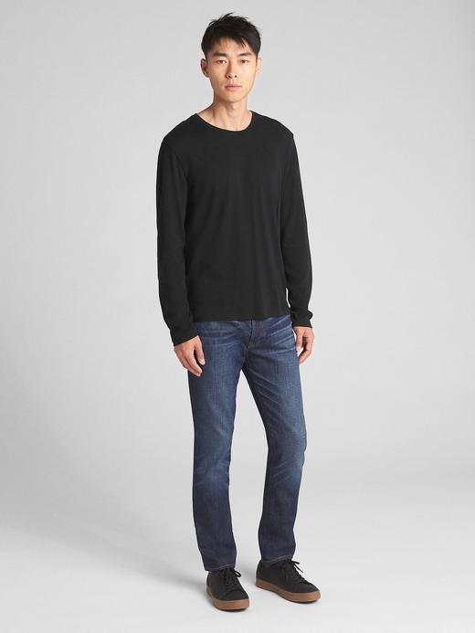 Erkek gri Uzun Kollu Sıfır Yaka T-Shirt