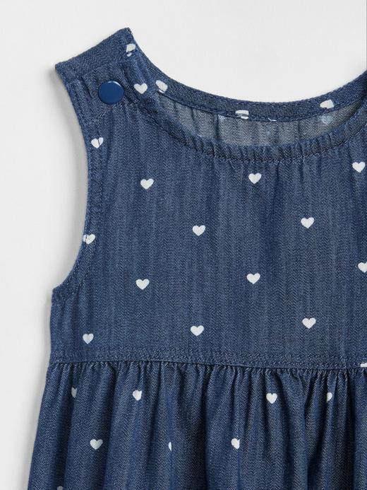 Kalp Desenli Kolsuz Denim Elbise