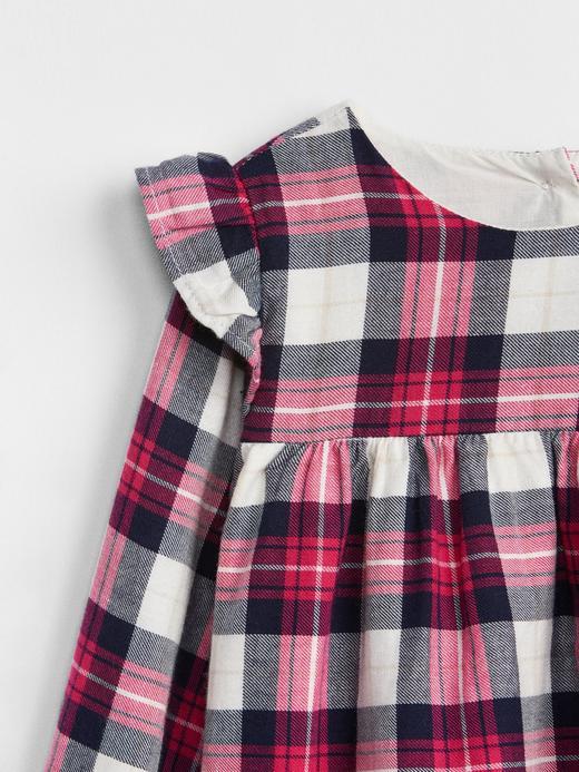 Fırfır Detaylı Ekose Elbise