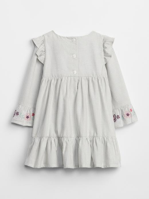 İşlemeli Çizgili Elbise