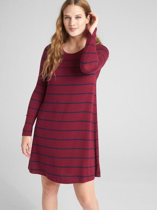 Softspun Uzun Kollu Çizgili Elbise