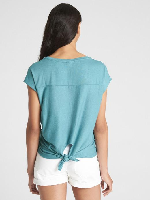 Softspun Kısa Kollu Arkadan Bağlamalı T-Shirt