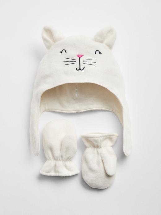 Bebek kırık beyaz Kedili Bere ve Eldiven Takımı