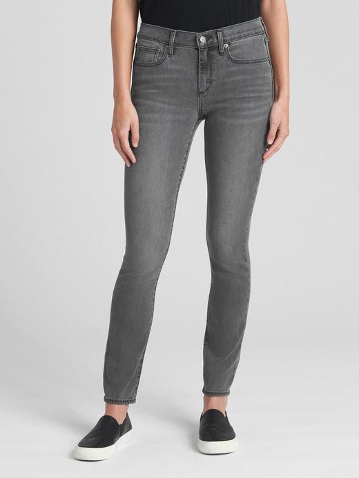 Kadın gri Soft Wear Orta Belli True Skinny Jean Pantolon