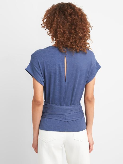 Kadın beyaz Softspun Kısa Kollu Bağcıklı Bluz
