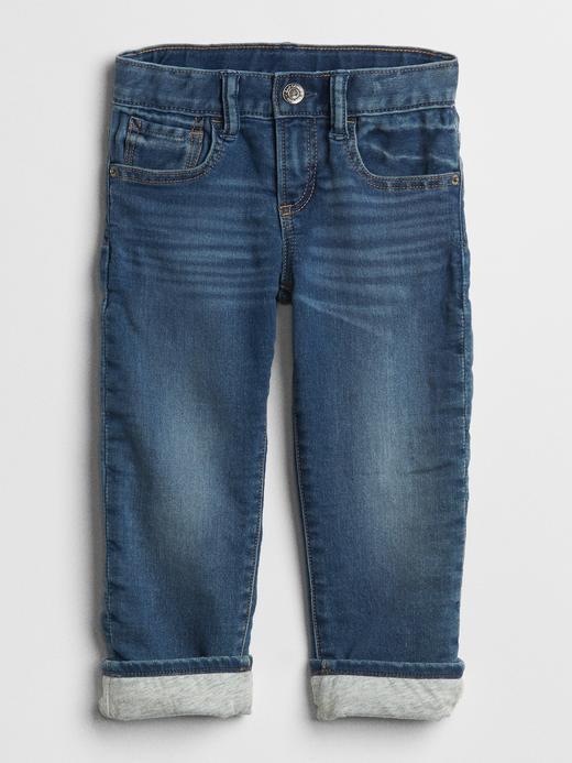 Bebek orta yıkama Superdenim Jarse Astarlı Straight Jean Pantolon