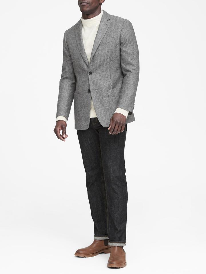 Erkek Gri Italian Yünlü Slim Ceket