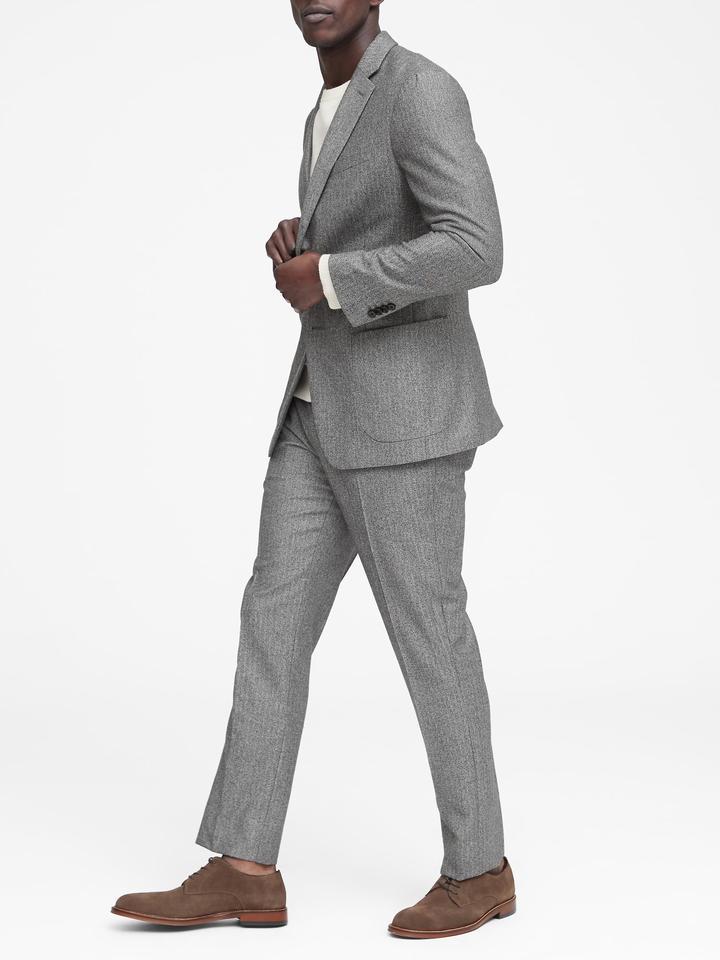 Erkek kırçıllı gri Italian Yünlü Slim Ceket