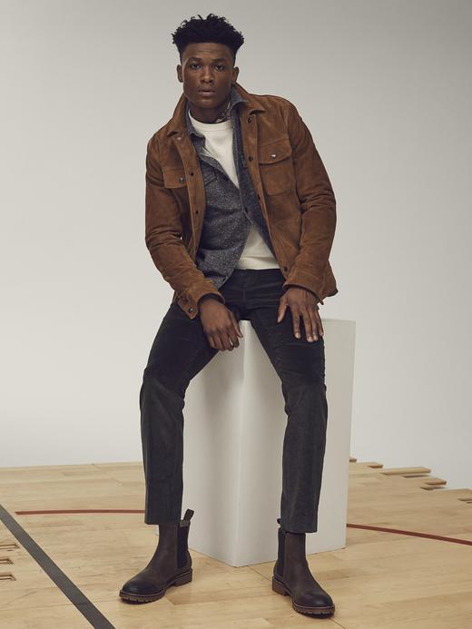 Erkek Siyah BR x Kevin Love | Tapered  Kadife Pantolon