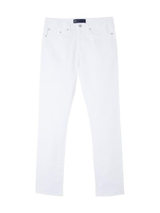 Beyaz Yıkamalı Slim Fit Jean Pantolon
