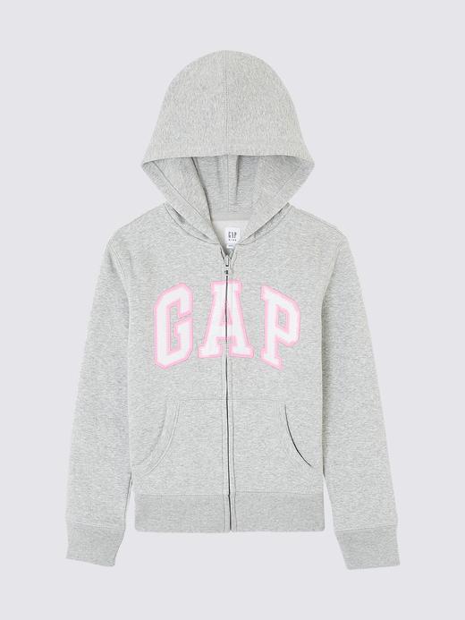 Kız Çocuk kırçıllı gri Pullu Gap Logo Kapüşonlu Sweatshirt