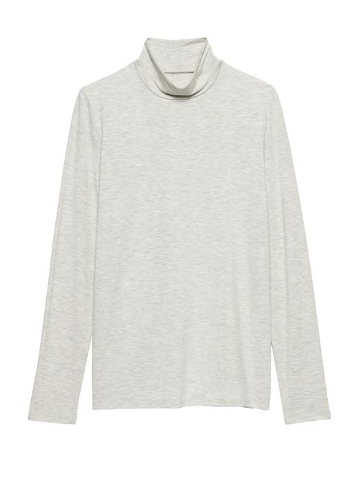 Kadın gri Threadsoft Hafif Kumaşlı Boğazlı T-Shirt