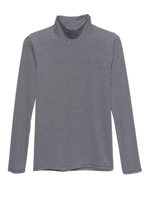 Kadın mavi çizgili Threadsoft Hafif Kumaşlı Boğazlı T-Shirt