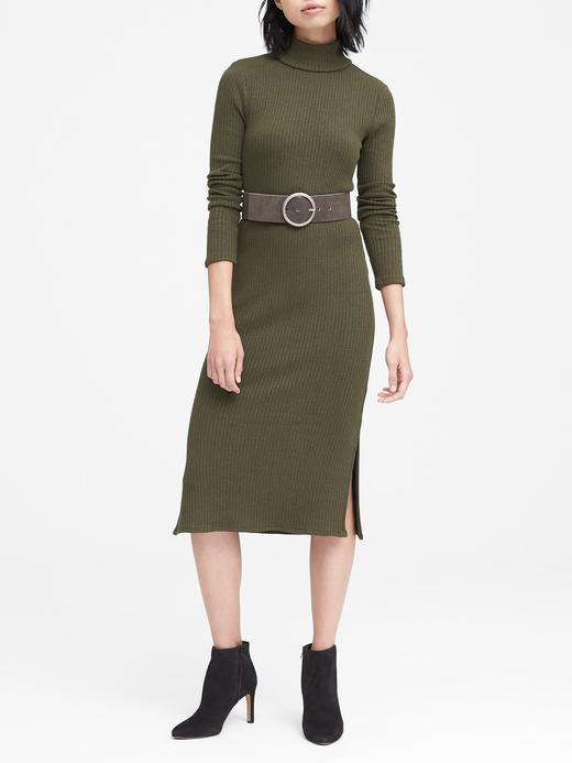 Kadın Yeşil Luxespun Boğazlı T-Shirt Elbise