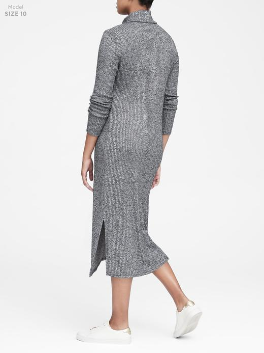 Kadın Siyah Luxespun Boğazlı T-Shirt Elbise