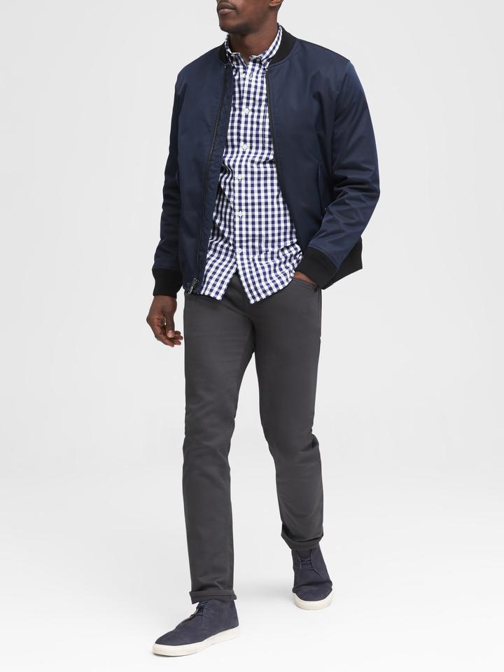 Erkek turuncu Grant Slim-Fit Poplin Ekose Gömlek