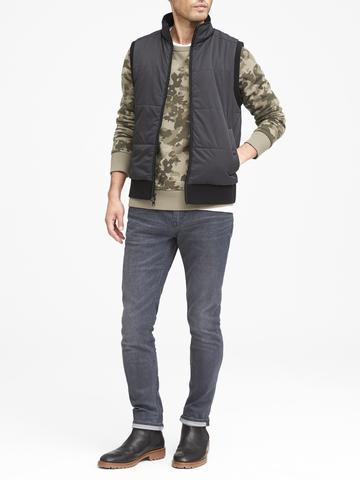 Erkek kamuflaj desenli Kamuflaj Desenli Havlu Kumaşı Sıfır Yaka Sweatshirt