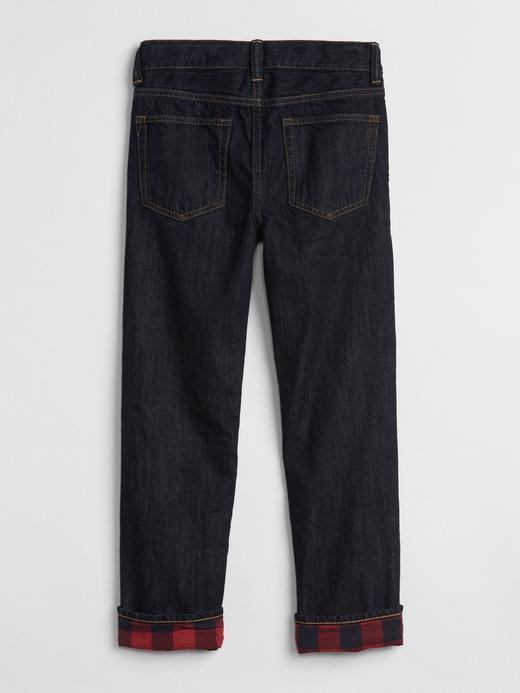Erkek Çocuk koyu yıkama Superdenim Ekose Astarlı Straight Jean Pantolon