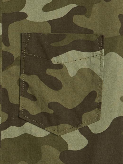Kamuflaj Desenli Uzun Kollu Poplin Gömlek