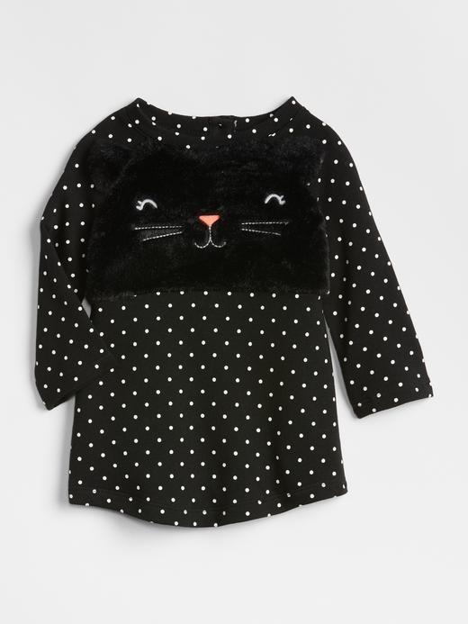 Kedili Uzun Kollu T-Shirt Elbise