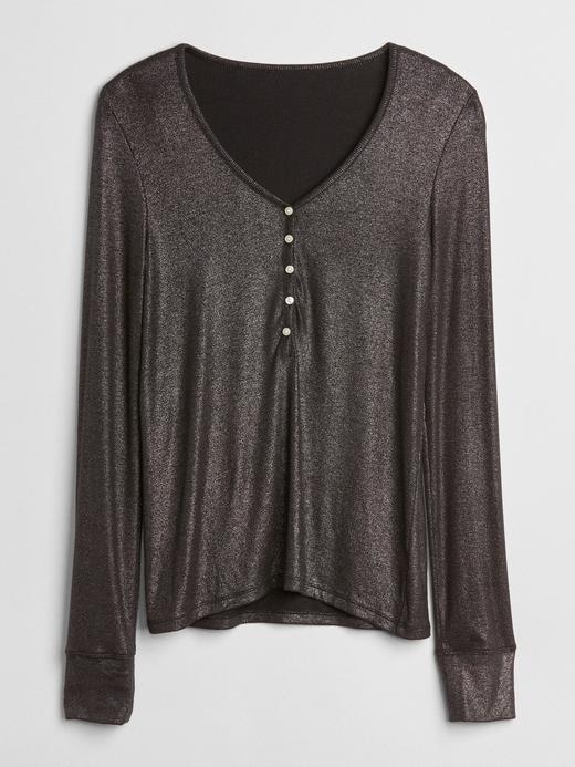 Metalik Uzun Kollu T-Shirt