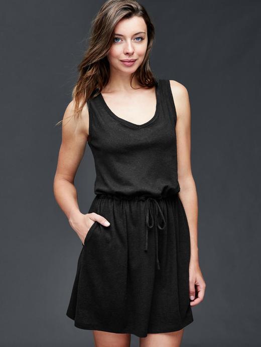 Kadın Siyah Keten Pamuk Karışımlı Elbise