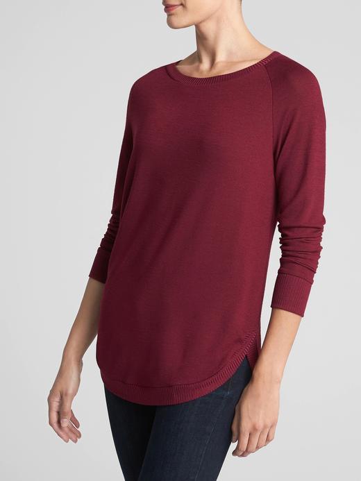 Kadın bordo Softspun Reglan Kollu Tunik T-Shirt