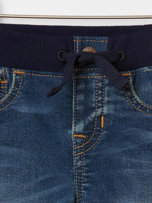 Bebek Koyu indigo Yumuşak Dokulu Slim Jean Pantolon
