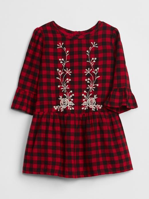 Bebek kırmızı ekose İşlemeli Ekose Elbise