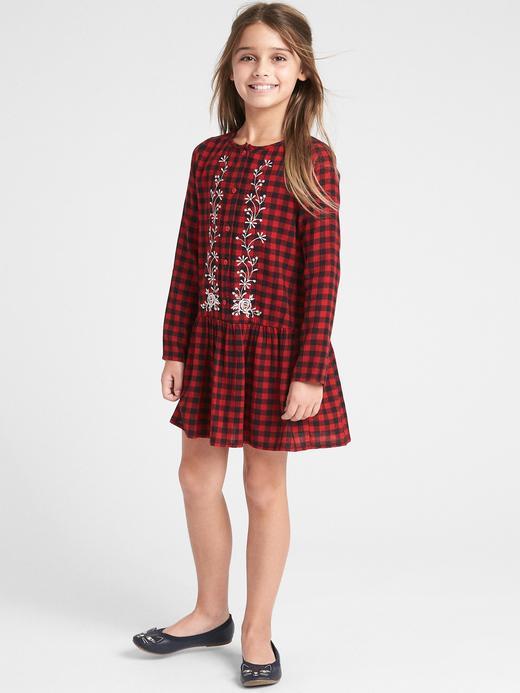 Kız Çocuk kırmızı ekose İşlemeli Ekose Elbise