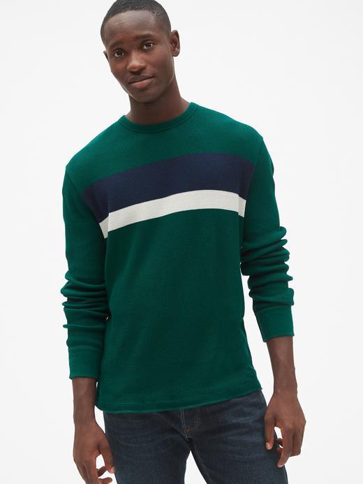 Erkek yeşil Uzun Kollu Çizgili Klasik T-Shirt