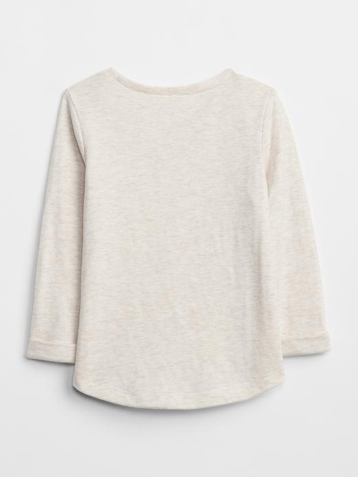 Bebek krem Baskılı Uzun Kollu T-Shirt