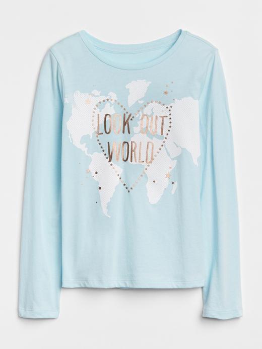 Kız Çocuk açık mavi Baskılı Uzun Kollu T-Shirt