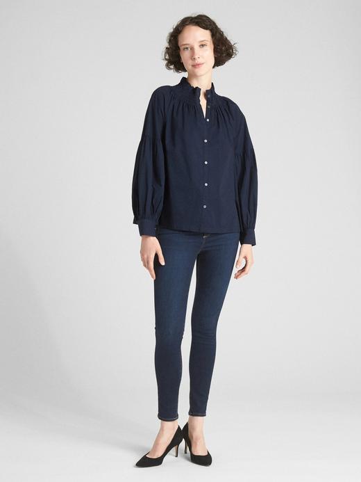Kadın lacivert Uzun Kollu Poplin Bluz