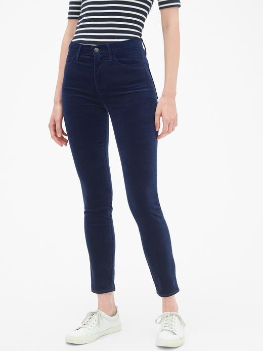 Yüksek Belli True Skinny Kadife Jean Pantolon