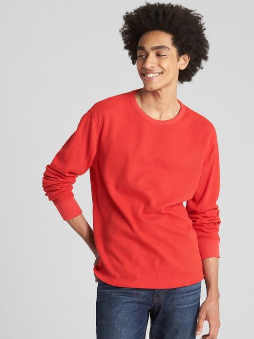Erkek Kırmızı Uzun Kollu Klasik T-Shirt