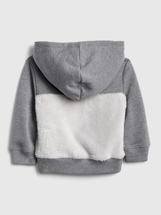 Sherpa Astarlı Ayıcık Desenli Sweatshirt