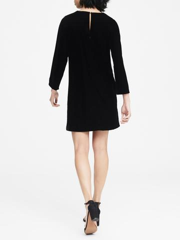 Kadın siyah Uzun Kollu Shift Fit Kadife Elbise