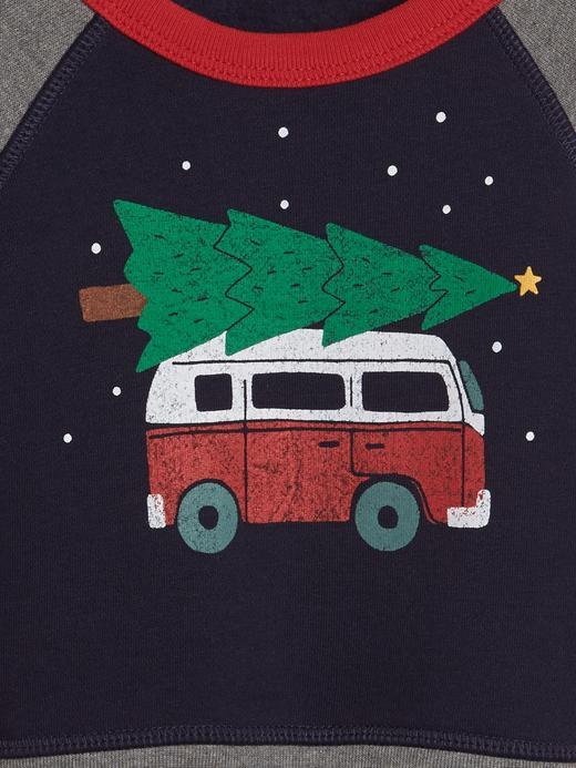 Baskılı Sıfır Yaka Polar Sweatshirt