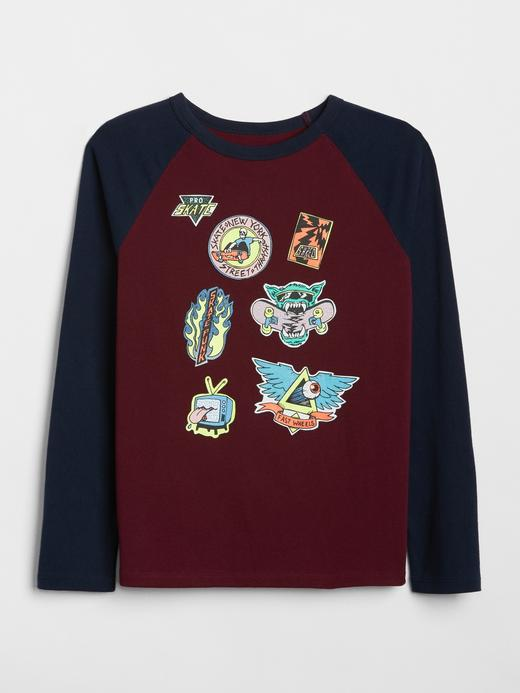 Erkek Çocuk bordo Gap Logo Reglan Kollu T-Shirt