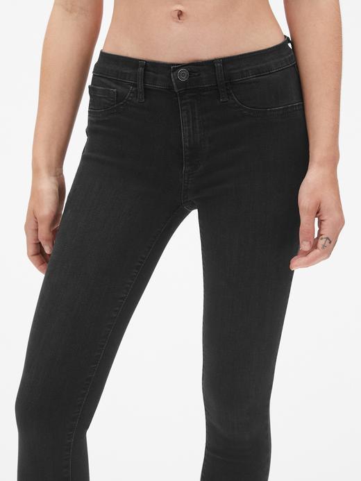 Kadın siyah Orta Belli Jegging Jean Tayt Pantolon