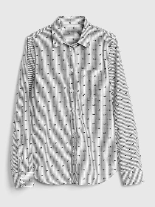 Kadın siyah-beyaz çizgili Desenli Boyfriend Gömlek