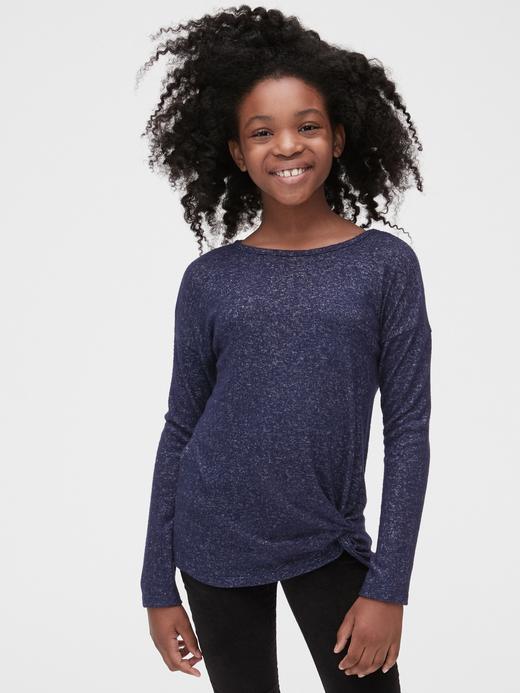 Kız Çocuk Lacivert Softspun Bağlamalı T-Shirt