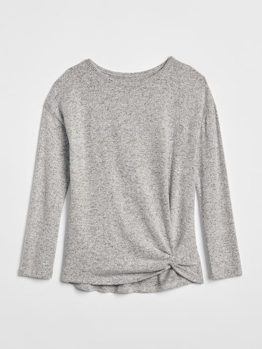 Kız Çocuk gri Softspun Bağlamalı T-Shirt