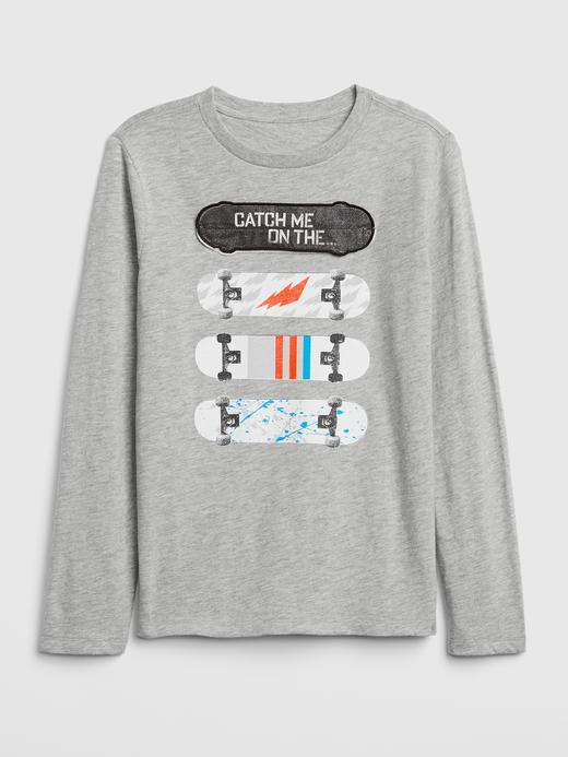 İnteraktif Baskılı Uzun Kollu T-Shirt