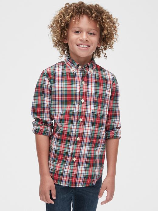 Erkek Çocuk kırmızı Uzun Kollu Poplin Ekose Gömlek
